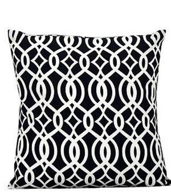 Pillow Cover Monogrammed Navy Vine Print