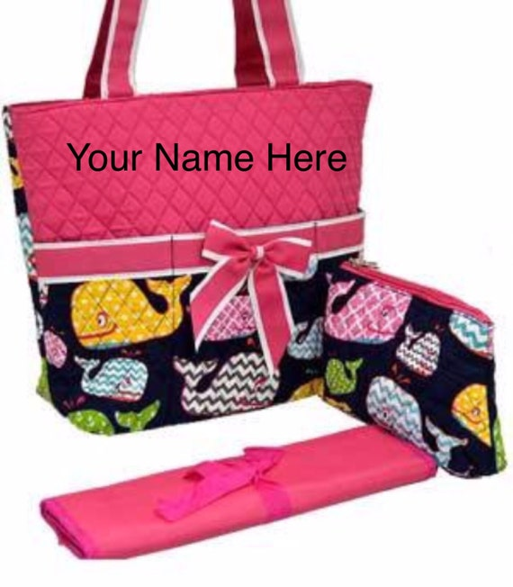 Diaper Bag Quilted Hot Pink Whales Print with Personalized Embroidery