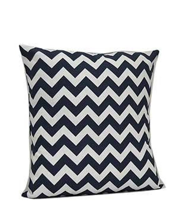 Pillow Cover Monogrammed Navy Chevron Print