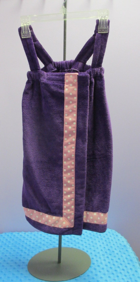 Towel Wrap Child's Personalized Embroidered Size Small Purple with Accent Ribbon