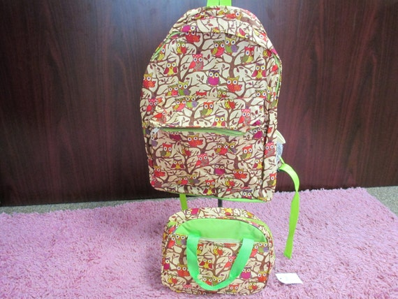Lime Owl Backpack with matching insulated Lunch Bag with Personalized Monogram