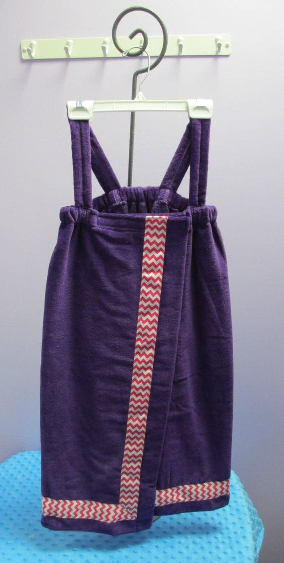 Towel Wrap Child's Personalized Embroidered Size Medium Purple with Accent Ribbon-FREE SHIPPING