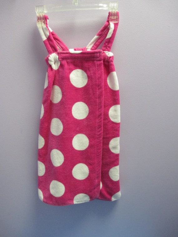 Spa Wrap Children's Personalized Size Small Hot Pink Polka Dot Towel Wrap