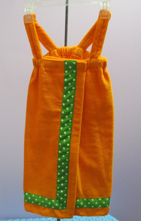 Towel Wrap Child's Personalized Embroidered Size Small Orange Shower with Accent Ribbon