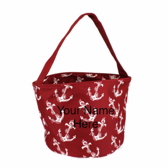 Bucket Tote Personalized Small Red Anchor