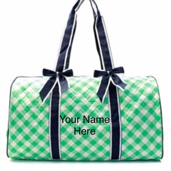 Duffle Bag Personalized Mint Green Plaid Print Quilted  with Navy Accent