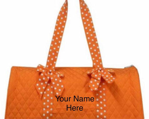 Duffle Bag Orange Quilted with Personalized Embroidery