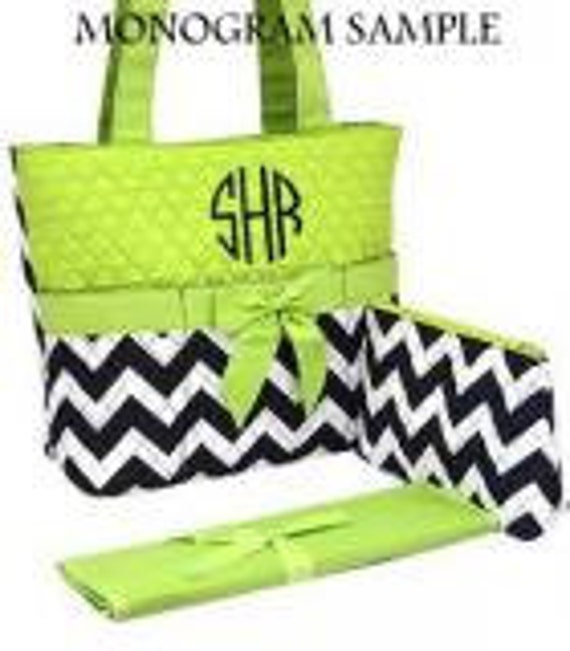 Diaper Bag Personalizable Quilted Navy Chevron and Lime Green Print