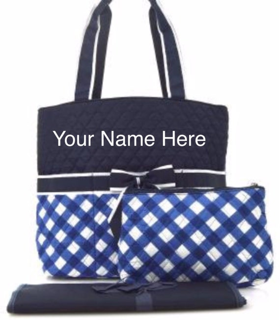 Diaper Bag Navy Plaid Quilted with Personalized Embroidery