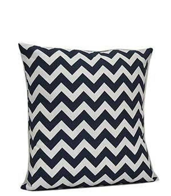 Pillow Cover Monogrammed Navy Chevron Print-FREE SHIPPING