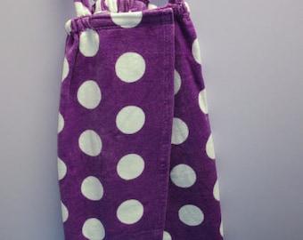 Spa Wrap Children's Size Medium Purple Polka Dot Towel Wrap