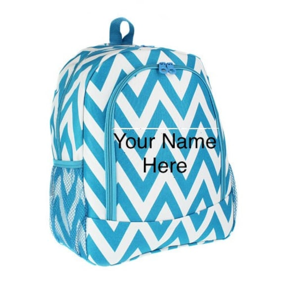 Backpack Turquoise Chevron Print with Personalized Monogram