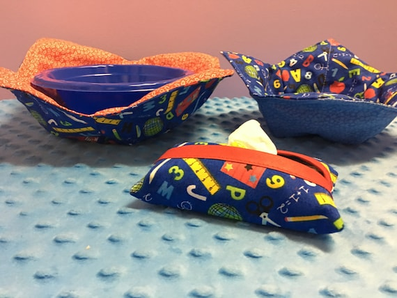 Teacher Combo- 2 Microwave Bowl Potholders And 1 Tissue Cover- FREE SHIPPING