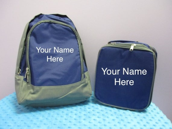 Backpack Personalized Preschool Navy with matching lunchbag