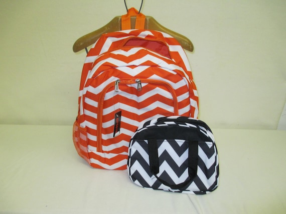 Orange Chevron Backpack with Black Chevron insulated Lunch Bag with Personalized Monogram