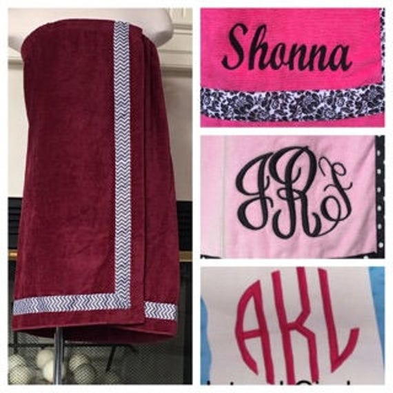 Spa Wrap Personalized Plus Size Womens Burgundy Towel Wrap With Accent Ribbon