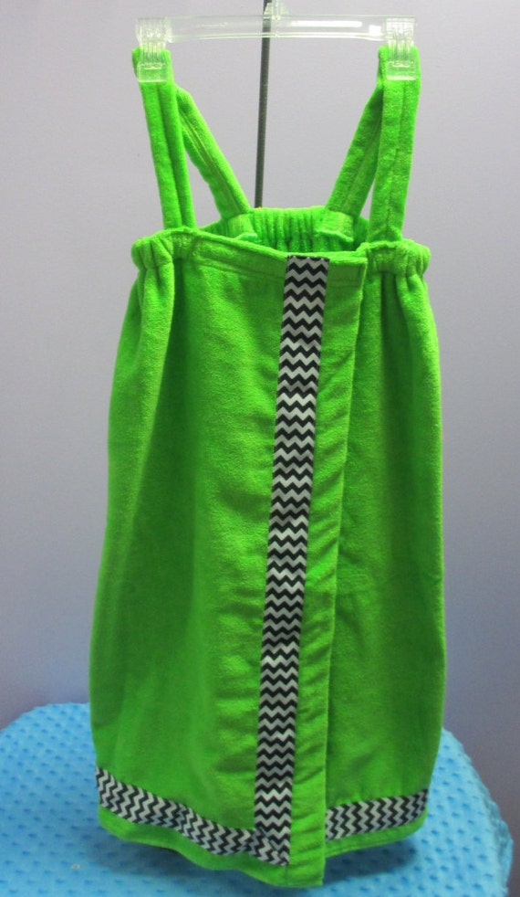 Towel Wrap Child's Personalized Embroidered Size Medium Lime With Accent Ribbon