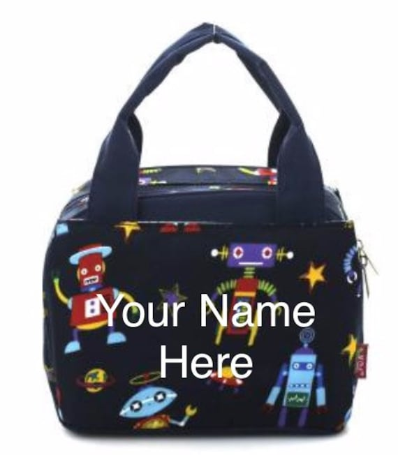 Insulated Lunch Bag Personalized Navy Blue Robot Print