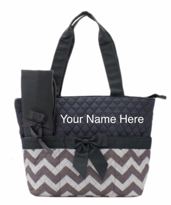 Diaper Bag Personalized Quilted Gray Chevron Print