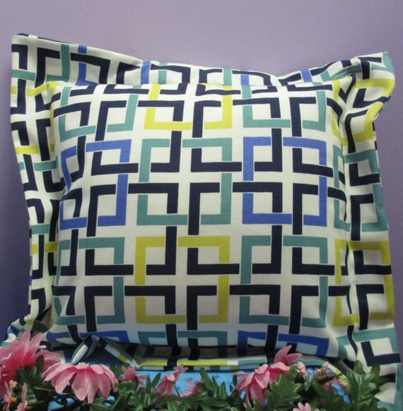 Pillow Cover Monogrammed Multi-Colored Geometric Print Handmade-FREE SHIPPING