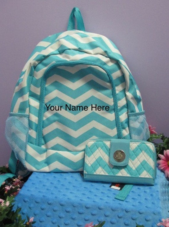 Backpack Personalized Aqua Chevron Print with Matching wallet