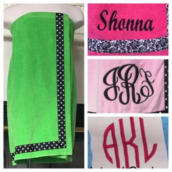 Spa Wrap Personalized Plus Size Womens Lime Green Towel Wrap With Accent Ribbon