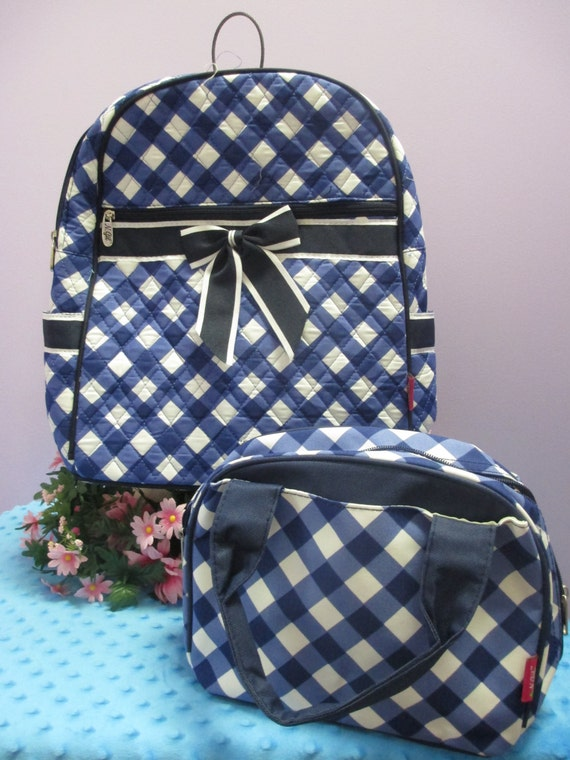 Navy Plaid Quilted Backpack and Matching Lunch Bag with Personalized Monogram