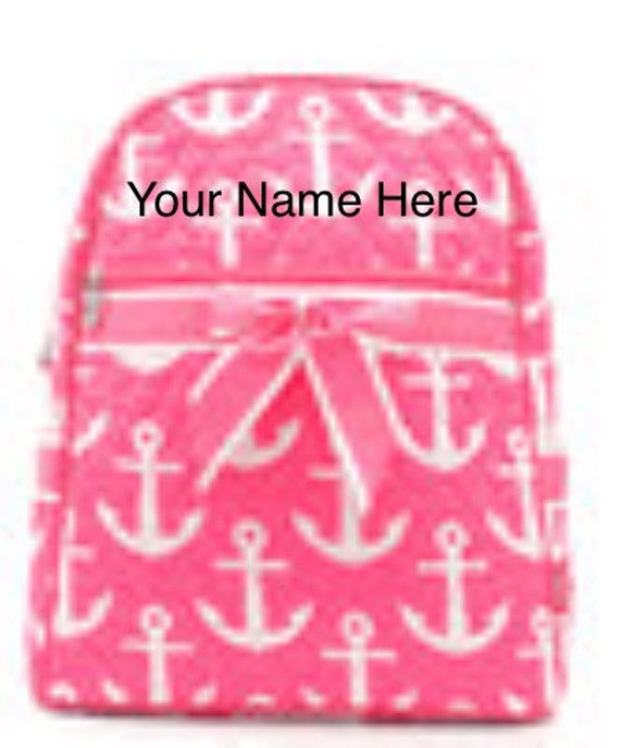 Backpack Personalized Hot Pink Anchor Quilted