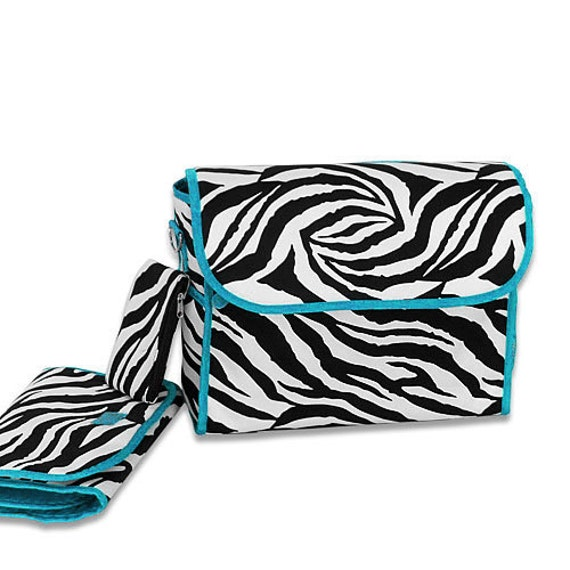 Diaper Bag *ON SALE* Personalized Zebra Print with Turquoise Trim