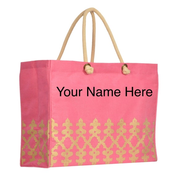 Jute Tote Bag Pink Canvas Gold Accented with Personalized Embroidery Includes Matching Cosmetic Pouch