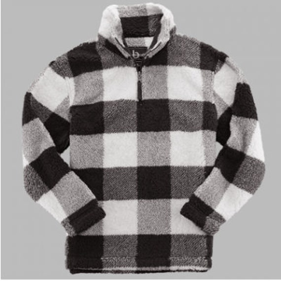Monogrammed Buffalo Check Sherpa pullover  ladies fit quarter zip jacket