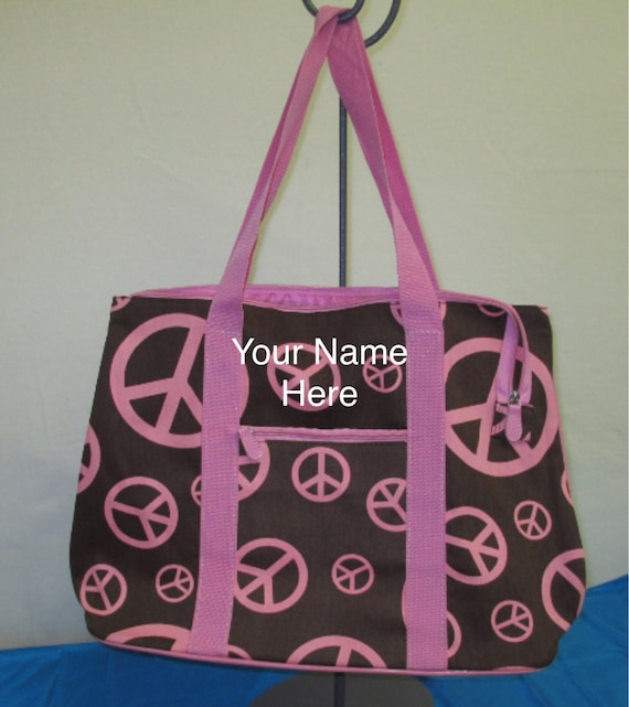 Oversized Tote Bag Personalized Baby Pink and Brown Peace Sign *ON SALE*