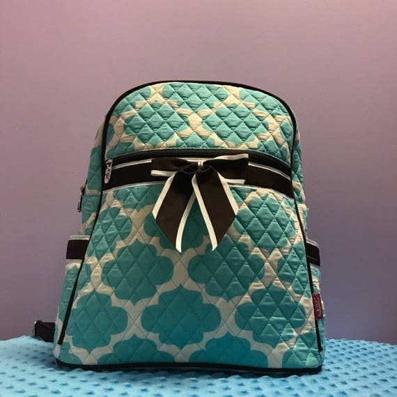 Backpack Turquoise and Brown Quatrefoil Quilted with Personalized Monogram