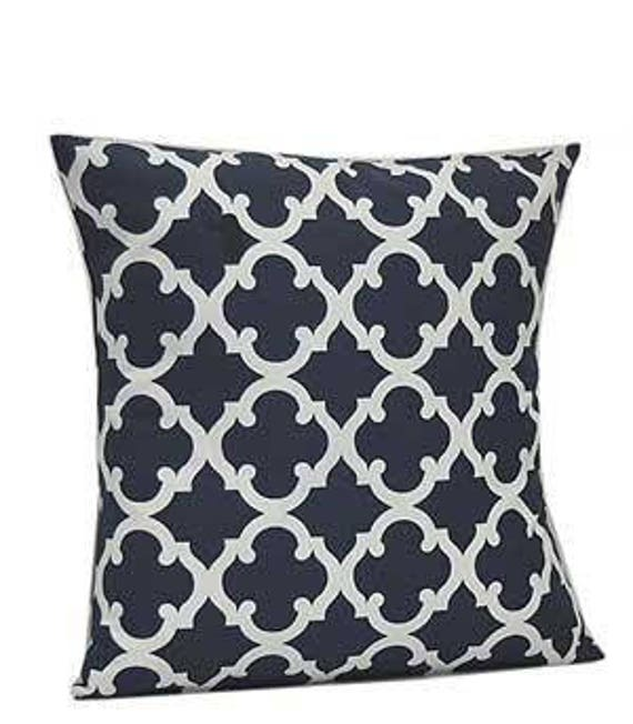 Pillow Cover Monogrammed Navy Quatrefoil Print-FREE SHIPPING