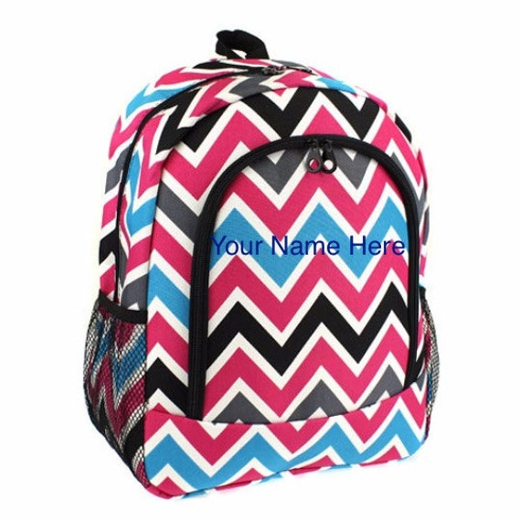 Backpack Hot Pink, Black, Turquoise, and Gray Chevron Print with Personalized Embroidery