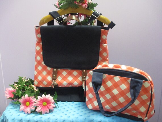 Monogrammed Coral Plaid Canvas Backpack with Matching Lunch Bag FREE SHIPPING