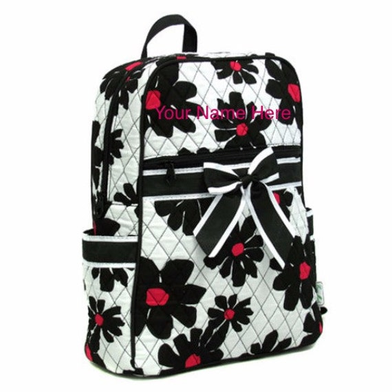 Backpack Black Flowers Quilted with Personalized Monogram