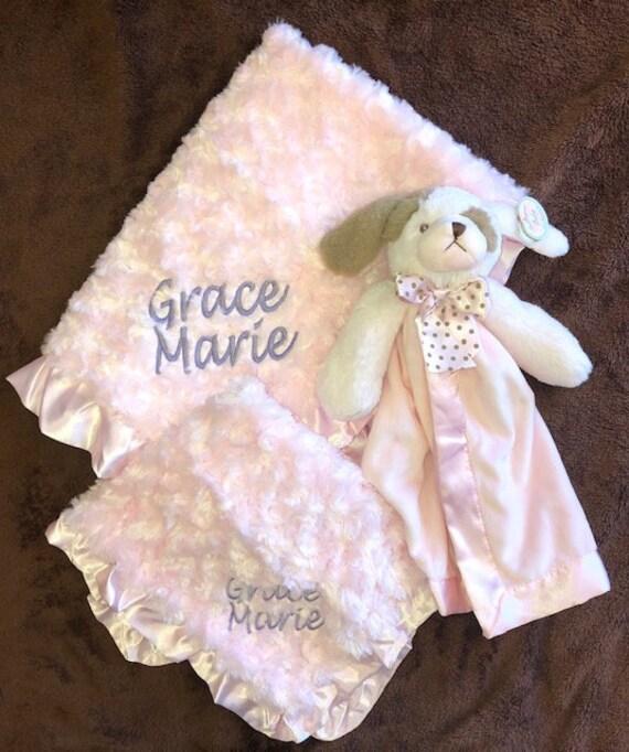 Personalized Snuggle Buddy Pink Puppy Set