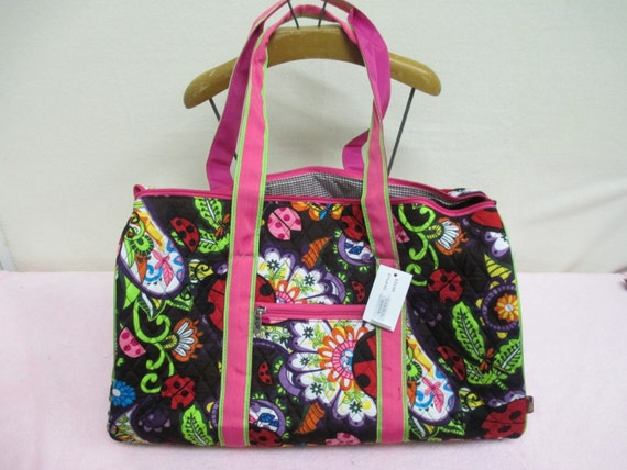 Duffle Bag Hot Pink with Lime Green Ladybug Quilted with Personalized Embroidery