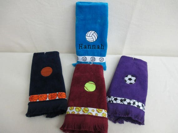 Fingertip Towel Personalized Sports with Ribbon-FREE SHIPPING