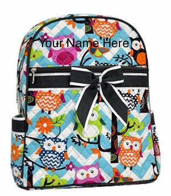 Backpack Personalized Aqua Chevron Quilted with Owls and Grey Ribbon Accent