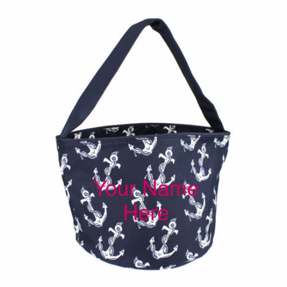 Bucket Tote Personalized Small Navy Anchor