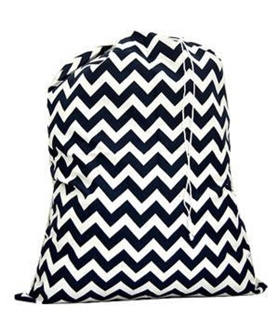 Laundry Bag Navy Chevron Print with Personalized Embroidery