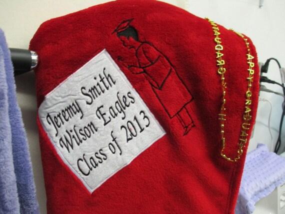 Blanket Personalized Appliqued Boy Silhouette Microfiber Fleece Graduation