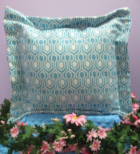 Pillow Cover Handmade Monogrammed Aqua Geometric Print
