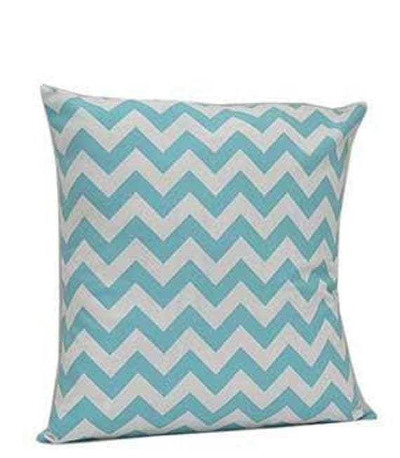 Pillow Cover Monogrammed Aqua Chevron Print-FREE SHIPPING