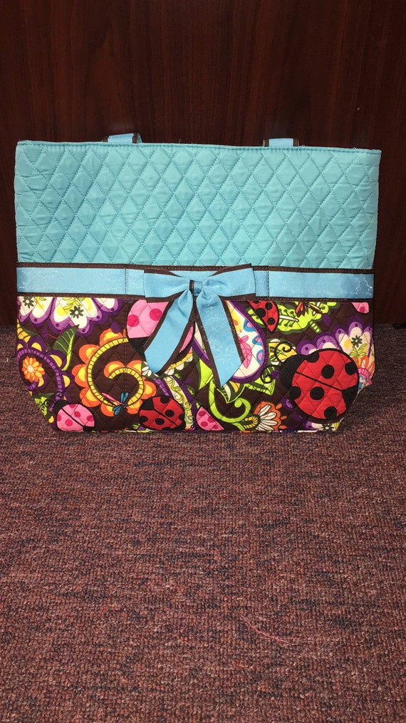 Diaper Bag Quilted Blue Brown Ladybug Print