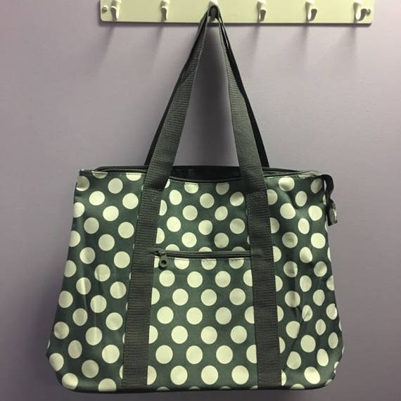 Personalized Grey Polka Dot Oversized Tote Bag