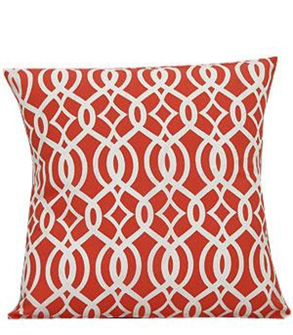 Pillow Cover Monogrammed Coral Vine Print