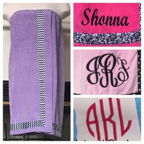 Spa Wrap Personalized Womens Lavender Towel Wrap With Accent Ribbon